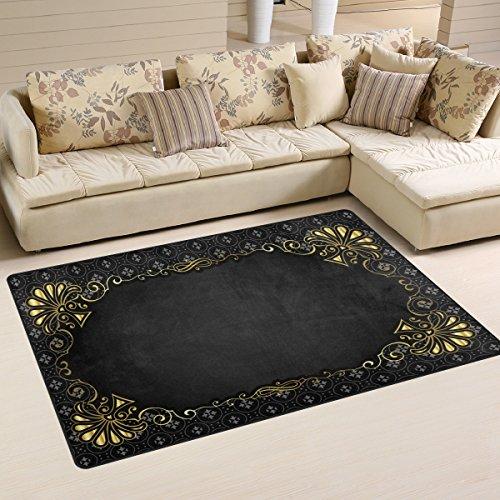 yibaihe leicht bedruckt Bereich Teppich Teppich Fußmatte Deko schwarz gold Vintage Floral Muster Wasserabweisend Leicht zu reinigen für Wohnzimmer Schlafzimmer 153 x 100 cm (Shag Floral Teppiche)