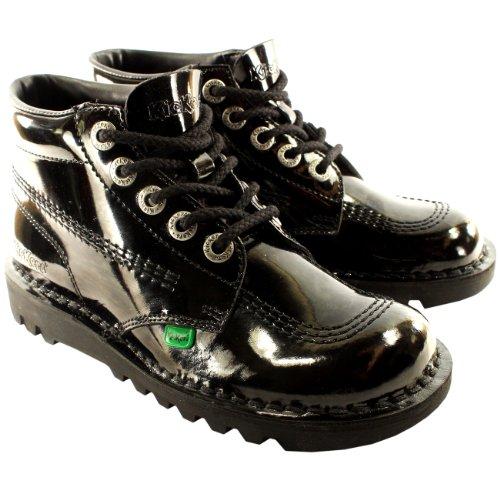 Damen Kickers Kick Hi Patent Klassiker Schnüren Arbeit Stiefel Schuhe - Schwarz - 42 (Kick Kickers Stiefel Hi)