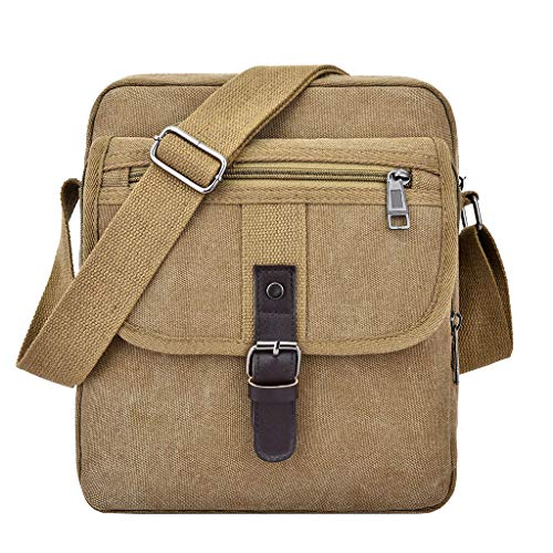 Pingtr - Daypack,Männer Tasche Canvas solide Unisex Schulter Tote Handtasche Casual Bag - Khaki,24 cm (L) x 9 cm (B) x 27 cm (H) - Tiger Canvas Tote Bag