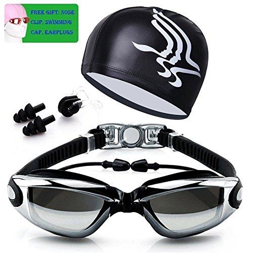 GloBal Mai Schwimmbrille, Schwimmbrille keine undichte Anti Nebel UV-Schutz HD wasserdichte Schwimmbrille und große Augen Spiegelrahmen Überzug Brille (Schwarz)