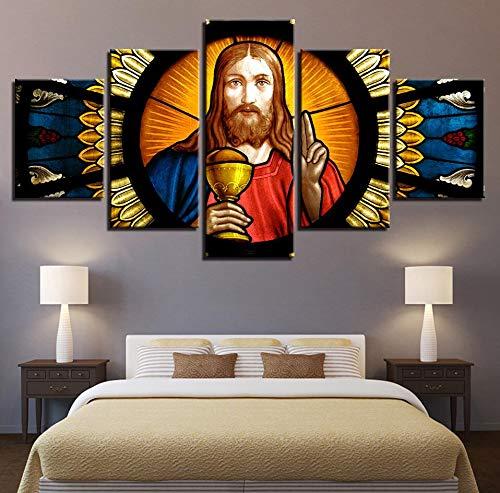 mmwin HD Toile Imprimé Travail modulaire Citations 5 Pièces Dieu Affiche Affiche Décor À La Maison Salon Salon Mur Arts Religion Photos