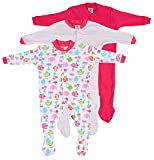 #6: EIO® Mini Berry Long Sleeve Cotton Sleep Suit Romper Set of 3 For Girls (6-9 months)