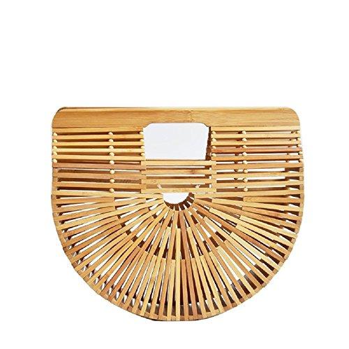 LiDiwee Frauen Bamboo Top-Griff Taschen, Handtaschen handgemachte Bambus Einkaufstasche, Sommer Strand Bambus Handtasche, Halbkreis-Paket, Handtasche, Abendtaschen (Bambus-griff-handtasche)