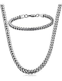 Collar y pulsera Fibo Steel de acero inoxidable con cadena con trenzado de espiga para hombres mujeres de 5mm de ancho, 55,8 cm y 21,5 cm