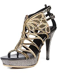 Elegant high shoes5915-18 Sandali da donna da donna/Buckle Nights Office & Career Fine Heels, bianca, 38