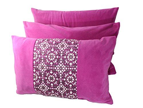 Set von 3Stück Marokkanische dekorativer Überwurf-Kissenbezug Geometrische Vierpass-Leinwand Kissen Fall 50,8x 30,5cm–Violett (3 Stück Dekorative Kissen)