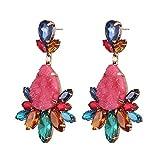 Thumby Pendientes de Otoño e Invierno Piedras Preciosas de Colores Pendientes Largos de Gota Pendientes, Mezcla de Colores