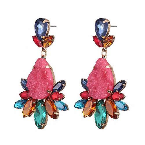 2 - Thumby Pendientes de Otoño e Invierno Piedras Preciosas de Colores Pendientes Largos de Gota Pendientes, Mezcla de Colores