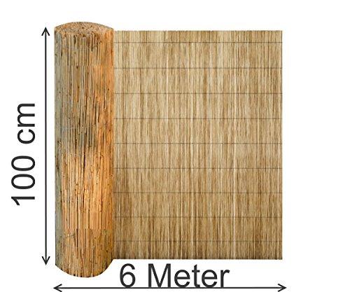EXCOLO Schilfmatte 100x600 cm Sichtschutz Zaun Schilfrohrmatte Windschutz Blickschutz Schilf Windschutz Matte
