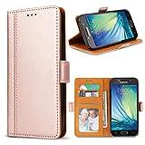 Bozon Galaxy A5 2017 Hülle, Leder Tasche Handyhülle Flip Wallet Schutzhülle für Samsung Galaxy A5 2017 mit Ständer und Kartenfächer/Magnetverschluss (Rose Gold)