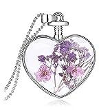 Adisaer Kette Lang Damen Plexiglas Halskette Lila Blume Transparent Herz Anhänger Getrocknete Blumen Verlobung