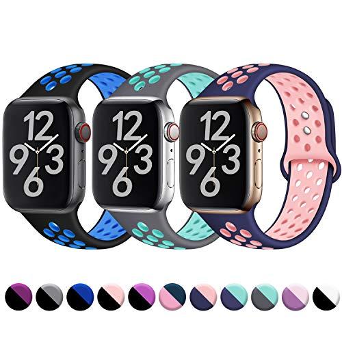 Hamile Kompatibel für Apple Watch Armband 38mm 40mm,Dual Farbe Weiches Silikon Atmungsaktiv Sportarmband für Apple Watch Series 4/3/2/1, M/L Schwarz/Blau Grau/Teal Blau/Rosa Apple Farbe
