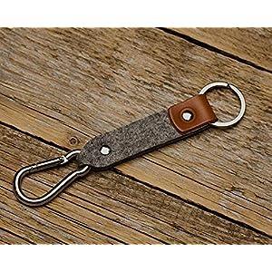 Braunes Leder Karabiner Schlüsselanhänger Ringhalter Klammer Schlüssel Karabiner-haken Geschenk Schlüsselband Anhänger