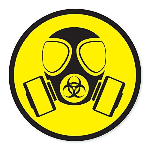 GAS Speedo Biohazard Symbol Taucherbrille ACHTUNG Selbstklebendes Vinyl Aufkleber Sicherheit (Biohazard Gasmaske)