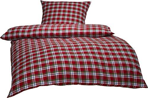 Bettwaesche-mit-Stil Warme Fein-Flanell Winter Bettwäsche Toronto Landhaus Karo Rot Grün Weiß Kariert (140 cm x 200 cm + 70 x 90)