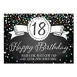 Große XXL Design Glückwunsch-Karte zum 18. Geburtstag mit Umschlag/DIN A4/Tafel-Look Konfetti/Grußkarte/Geburtstagskarte/Happy Birthday