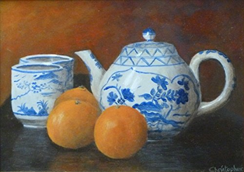 still-life-framed-painting-tea-citrus-original-acrylic-artwork-28cm-x-20cm-orange-blue-detail-tradit