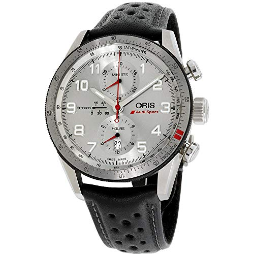Oris Men's Audi Sport 44mm Leather Band Automatic Watch 01 774 7661 7481-LSBLK