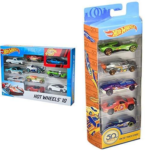 Hot Wheels 54886 1:64 Die-Cast Auto Geschenkset &  Wheels 01806 5er Pack 1:64 Die-Cast Fahrzeuge Geschenkset, je 5 Spielzeugautos, zufällige Auswahl, ab 3 Jahren