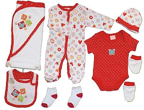 Just too cute rosso e bianco 7piece baby gift set; all-in-one, body gilet, guanti, calze, cappello, bavaglino e bagno wrap. adatto per bambino o ragazza e disponibile in età neonato ,0–3mesi o 3–6mesi