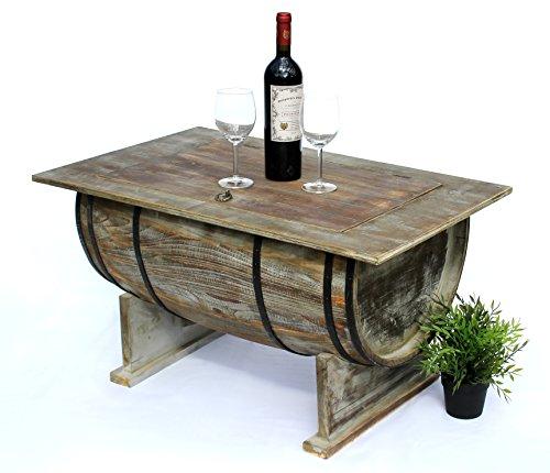 DanDiBo Couchtisch Wohnzimmer Vintage halbiertes Weinfass 5084-H 80cm Tisch aus Holz Beistelltisch Weinregal Fass Bar -