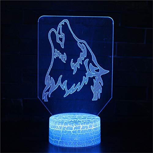 3D Illusione Ottica Led Lampada di Illuminazione Luce Notturna 7 Colori con Acrilico USB Batteria Notturna Touch Control Crack Base Roaring Wolf