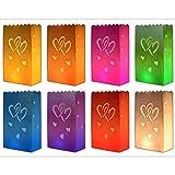 10 x bunte Lichtertüten Lichttüte Lichttüten Lichtertüte Herzmotiv mit Herz