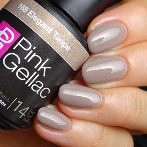 Vernis à ongles Pink Gellac 168 Elegant Taupe. 15 ml gel Manucure et Nail Art pour UV LED lampe, top coat résistant shellac