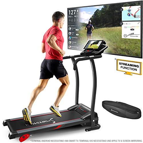 Sportstech F15 Tapis Roulant- Marchio di qualità Tedesco - Video Live e Multiplayer App LCD Display, incl.Bluetooth, 3 PS, 12 KM/H, 17 programmi e Supporto per Tablet - Compatto e Pieghevole