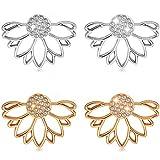 Suyi Mode Boucles d'oreilles de Fleur de Lotus Creuses Crystal Simple Élégant Boucles d'oreilles Set AGS