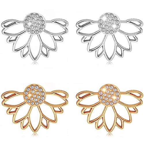 Suyi Mode Hohl Lotus Blume Ohrringe Kristall Einfach Schick Ohrringe Set AGS