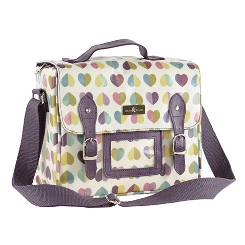 Vintage Retro Confetti Hearts Satchel Insulated Lunch Tote Bag (25 x 14 x 21cm) by Beau & Ellliot