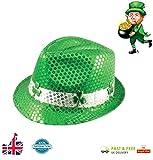 Irischer Hut mit Kleeblättern und Pailletten, Deluxe-Gangster-Hut (Fedora), St. Patrick's-Day-Hut, Plüsch, Klee, ausgefallene Kleidung von Lizzy