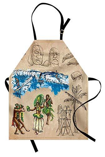 Vintage Hawaii Schürze, handgezeichnete Tiki Tänzer Surfen Haie Schildkröten Tropic Inspirations Retro, Unisex-Küche Latzschürze mit verstellbarem Hals zum Kochen Backen Gartenarbeit, Tan Blue Green -