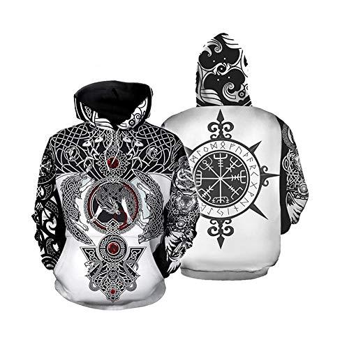 Etoilemer Viking Tattoo Hoodie Unisex 3D Odin Symbol Wikinger heidnischen nordischen Mythologie Nordic Zeichen Pullover Kapuzenpullover mit Tasche