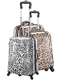 Juego de 3 maletas Carrito de la compra 4 ruedas, diseño de estampado de leopardo