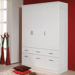 kleiderschrank wei 3 t ren b 136 cm schrank dreht renschrank w scheschrank kinderzimmer. Black Bedroom Furniture Sets. Home Design Ideas