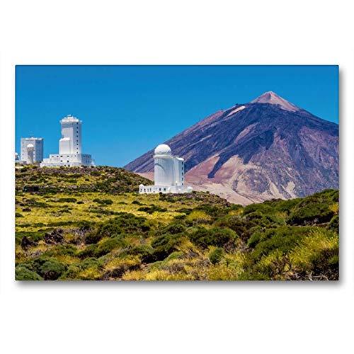 Calvendo Premium Textil-Leinwand 90 cm x 60 cm quer, Observatorium und Vulkan auf Teneriffa | Wandbild, Bild auf Keilrahmen, Fertigbild auf echter Leinwand. Vulkan Teide auf Teneriffa Orte Orte (Home-observatorium)