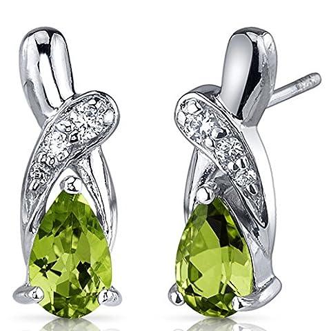 Revoni- Graceful Glamour 1.50 Carats Peridot Pear Shape CZ Earrings in Sterling Silver