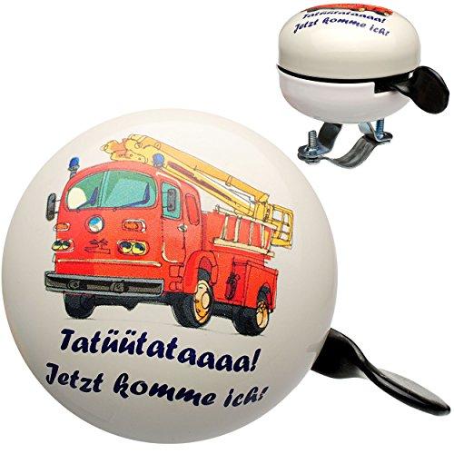 alles-meine.de GmbH Fahrradklingel -  Feuerwehr Tatütata  - Ding Dong - 2 Klang - stabiles Metall - UNIVERSAL Klingel für das Fahrrad / Mädchen & Jungen - Lenkerklingel - Feuer..