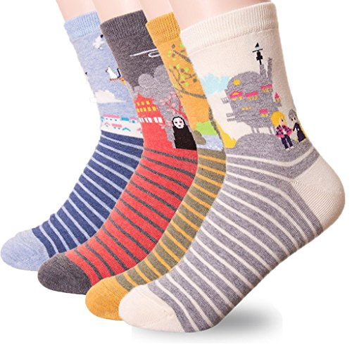 Women's Short Crew Socks 3-6 Pack by Ksocks, Cool Fun Crazy Cute Animation and Animal Socks Set Cat , Dog lovers, Goods for Gift Idea Secret Santa, White Elephant Exchange