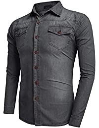 Coofandy Camisa Vaquera Hombre Pecho Bolsillo con Botones Manga Larga Casual