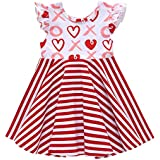 Amphia M/ädchenkleid,Kinder Baby M/ädchen /ärmellose Streifen Herz gedruckt Princess Dress Clothes