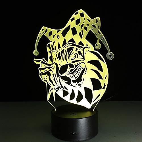 ht 3D Halloween Clown 3D Led Bunte Nachtlicht Tisch Kinder Star War Fan Als Schlafzimmer Tischdekoration Kindertag Geschenk ()