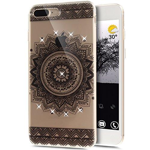 Coque iPhone 7 Plus, Étui iPhone 7 Plus, iPhone 7 Plus Case, ikasus® Coque iPhone 7 Plus Fleur peinte avec Luxe Shiny Glitter Strass Cristal Brillant Bling Diamant Housse Transparent TPU Silicone Étui Mandala noir