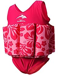 Konfidence Float Suit - Pink Hibiscus (4-5 Years) by Konfidence