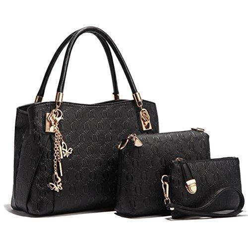 Umily Le donne annata della borsa del cuoio del sacchetto di spalla del Tote della cartella Hobo Set 3PCS-Nero