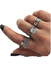 Oomph Jewellery Set Of 6 Antique Silver Zirconia Ring Set For Women & Girls(RSSK5R1)