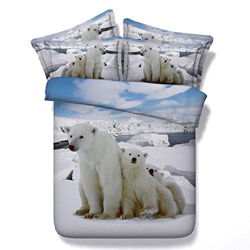 JF-126 encantador de tres osos polares imprimir cobertores de cama individual para niños regalo euro doble manta Parures de encendido adulte 3D