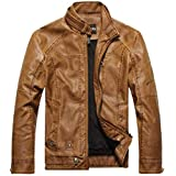 Casual Men's PU leather collar jacket